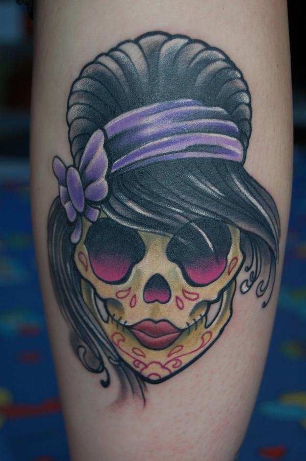 Girly Sugar Skull done in Black pearl tattoo studio ( La Roche sur Yon ...